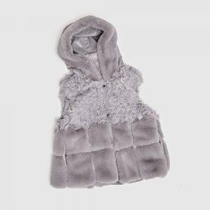Toscana Fur Gilet with Hood Grey