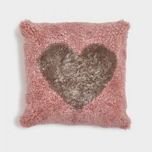 Dark Rose Curly Sheepskin Cushion with Beige Heart