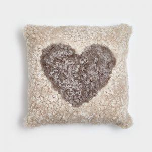 Pearl Curly Sheepskin Cushion with Beige Heart