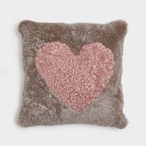 Beige Curly Sheepskin Cushion with Dark Rose Heart