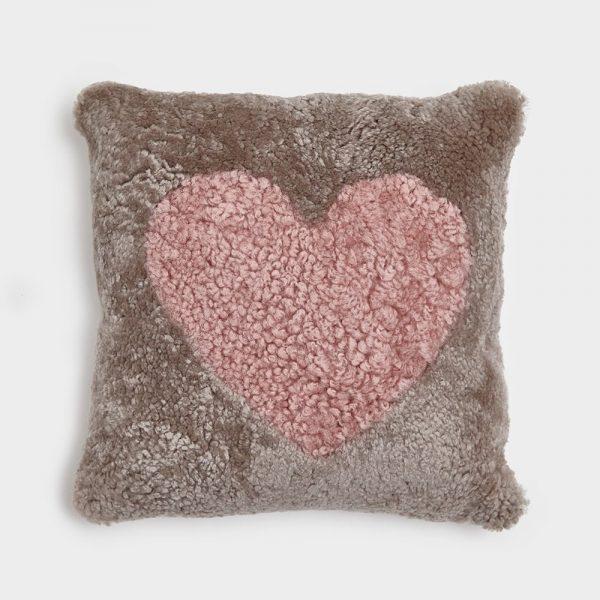 Beige Curly Sheepskin Cushion with Dark Rose Heart