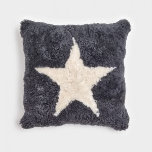 Anthracite Curly Sheepskin Cushion with Pearl Star