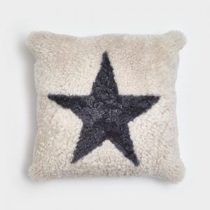 Pearl Curly Sheepskin Cushion with Anthracite Star