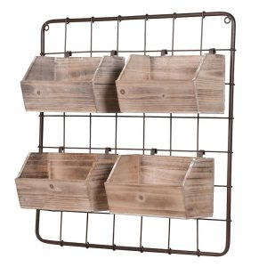 Wall Wooden Boxes on Metal Frame Storage