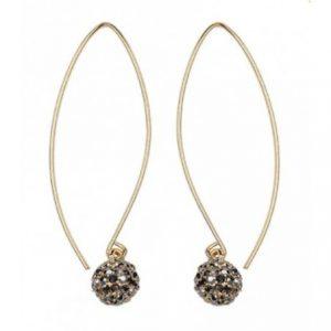 Long Crystal Pewter Ball Earrings