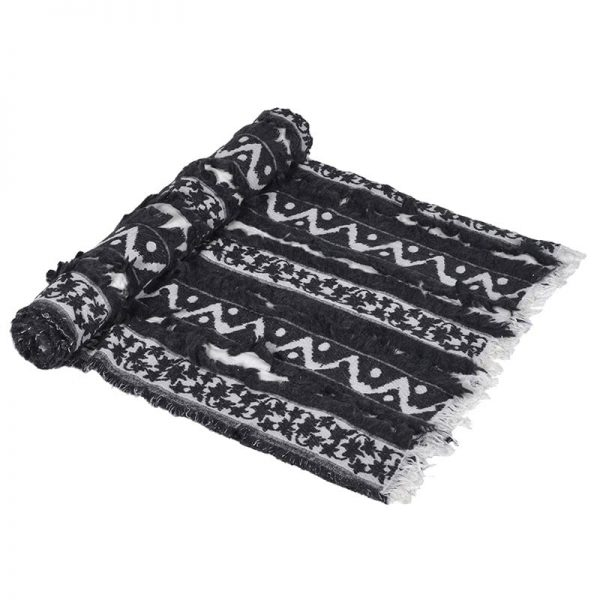 Black & White Ikat Pattern Throw