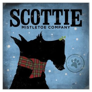 Christmas Card Scottie Mistletoe