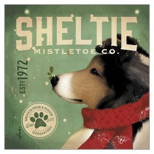 Christmas Card Sheltie Mistletoe