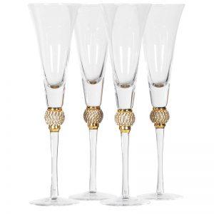 Gold Diamante Detail Champagne Flutes