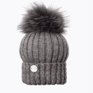 Boston Grey Cable Rib Pom Pom Hat