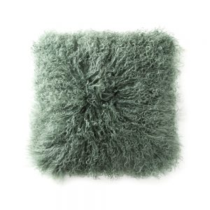 Tibetan Sheepskin Cushion Evergreen