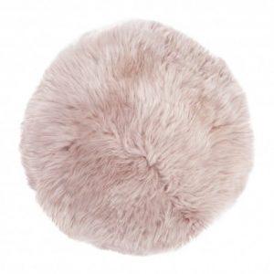 Silky Sheepskin Round Seat Pad in Rose Quartz