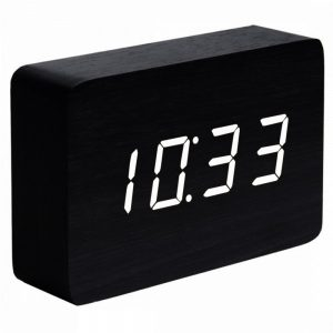 Brick Black Click Clock with White LED