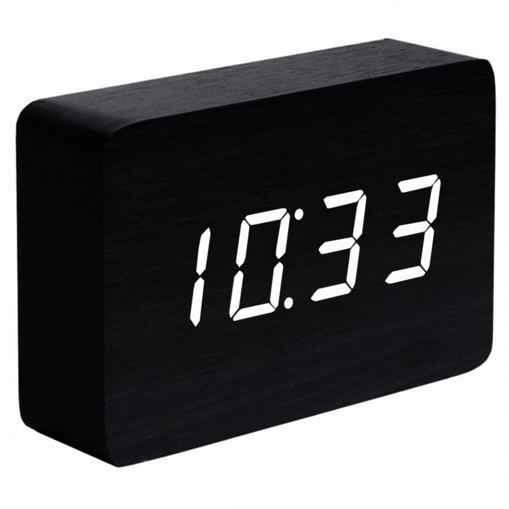 Brick Black Click Clock with White LED