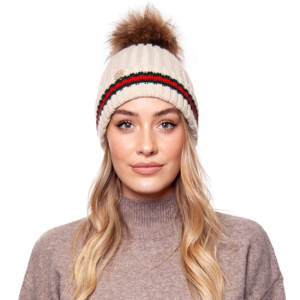 Brooklyn Stripe Pom Pom Hat Oatmeal