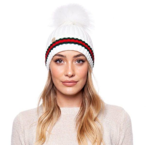 Brooklyn Stripe Pom Pom Hat White