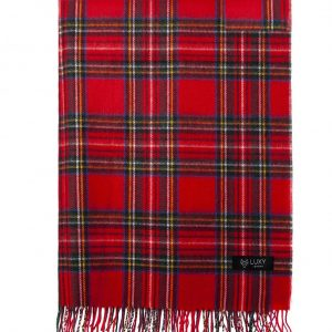 Wool Check Pattern Scarf Classic Red