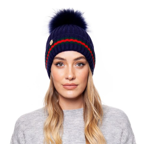 Brooklyn Stripe Pom Pom Hat Blue