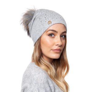 Annabelle Cashmere Pom Pom Embellished Hat Grey