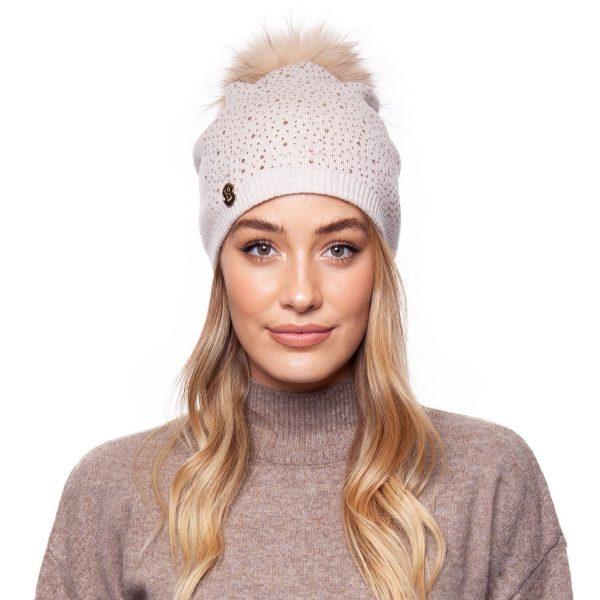 Annabelle Cashmere Pom Pom Embellished Hat Oatmeal
