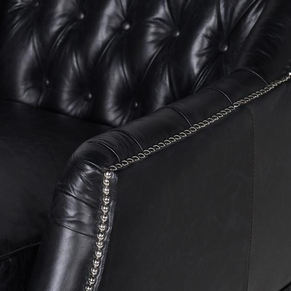 Black Buttoned Leather Armchair