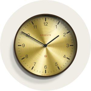 Newgate Mr Clarke Dark Wood Brass Clock