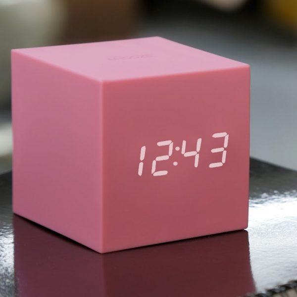 Gravity Cube Click Clock Pink
