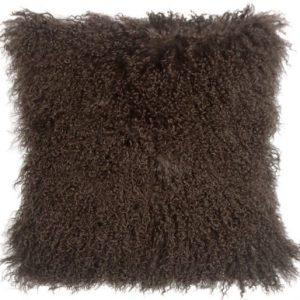 Tibetan Sheepskin Cushion Large Chocolate