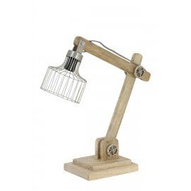 Natural Wood Desk Lamp with Wire Shade