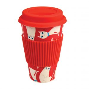 White Cat Bamboo Travel Mug