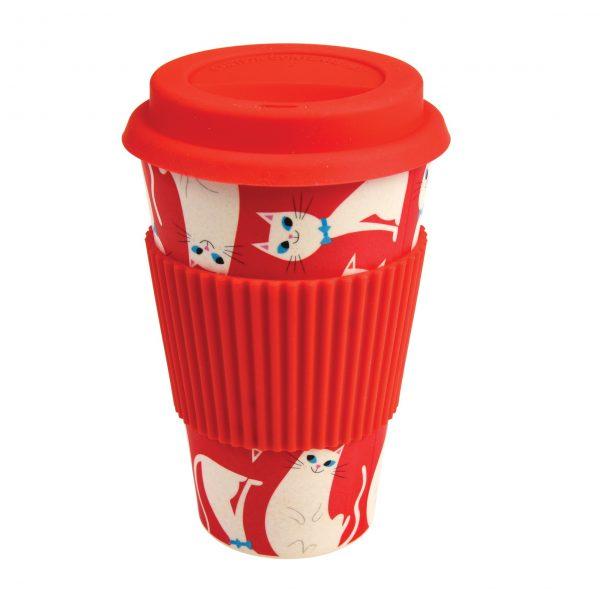 White Cat Bamboo Travel Mug