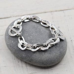 Silver Soft Hammered Circle Linked Bracelet