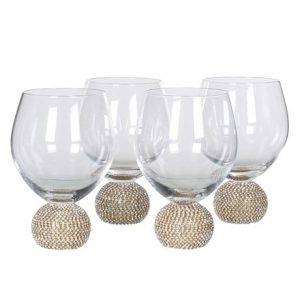 Gold Crystal Ball Wine Glass No Stem