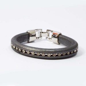 Crystal Embedded Thick Leather Band Bracelet