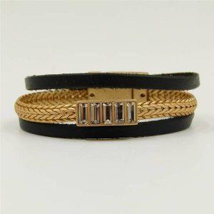 Black & Gold Plait Leather Bracelet