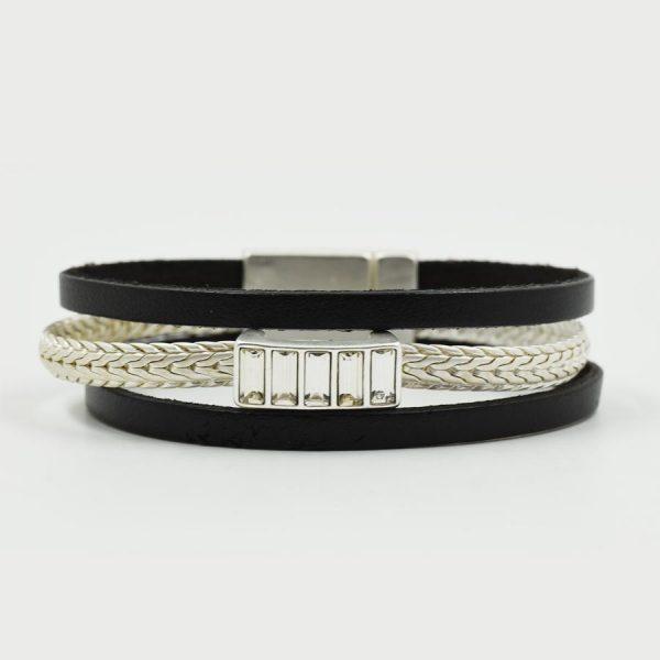 Black & Silver Plait Leather Bracelet