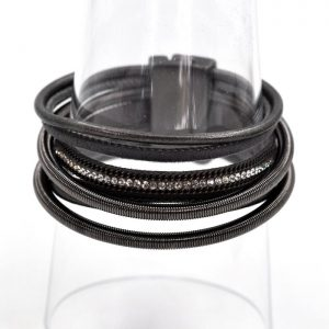 Dark Grey Multi Strand Leather Bracelet with Magnetic Clasp