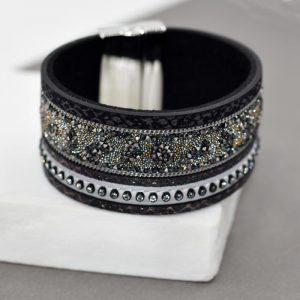 Crystal Bead & Snake Effect Cuff Bracelet