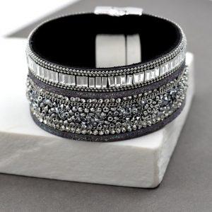 Crystal Bead Top Cuff Bracelet