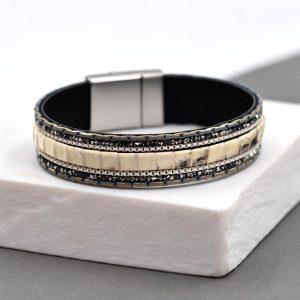 Crystal & Snake Print Double Strand Bracelet