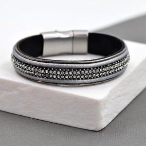 Grey Leather and Crystal Bracelet