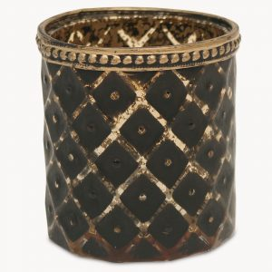 Ikat Diamond Votive with Bronze Finish