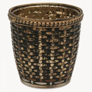 Weave Effect Votive with Bronze Finish