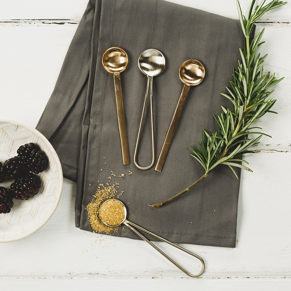 Set of 4 Gold & Copper Spoons