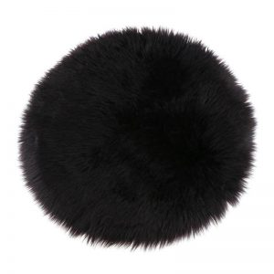 Silky Sheepskin Round Seat Pad in Black
