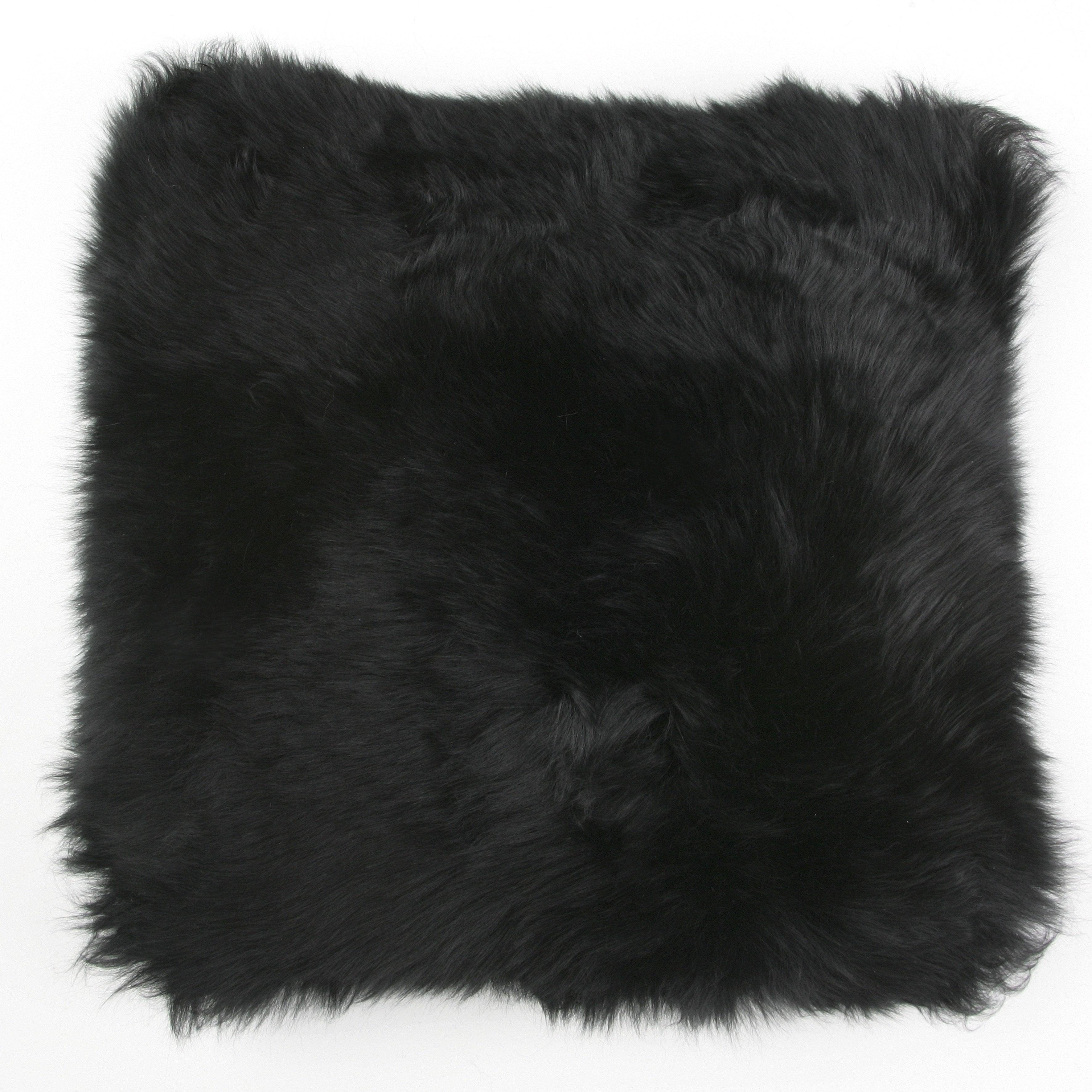 Silky Sheepskin Square Seat Pad in Black