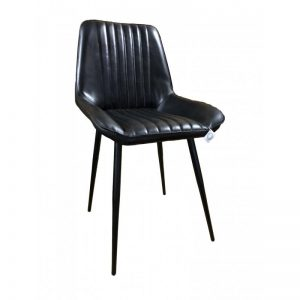 black padded leather dining chair
