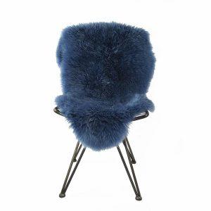 Silky Sheepskin Rug Mid Blue