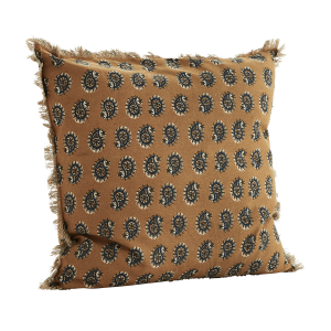 Mustard Paisley Design Fringed Cushion