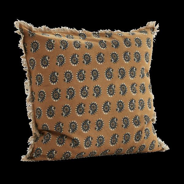 Mustard Paisley Design Fringed Cushion